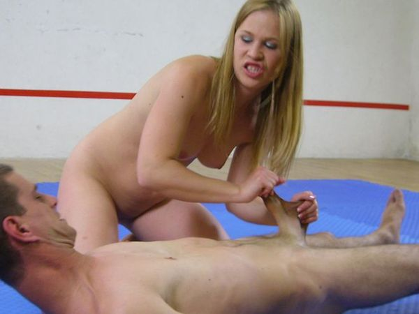 ... by showing off aggression and starts a nude sex fight to a naked male.