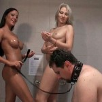 Humiliated Slave Watches His Two Mistresses Showering