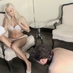 Dominatrix Humiliates Slave Crawling On The Floor