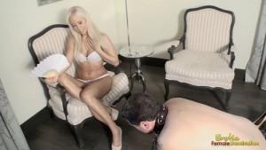 Dominatrix Humiliates Slave Crawling On The Floor