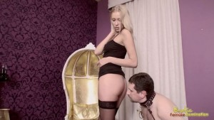 Master Instructs His Pet To Sniff Goddess's Ass