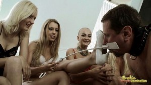 Bull Shares His Slave Frank With Four Perfect Women