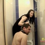 Goddess Gloria Makes Poor Frank Pick Up His Present From Toilet