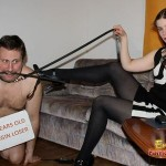 Interactive humiliation with gorgeous mistress Goddess Gloria and her slave Frank