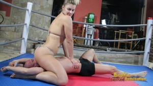 Slave fights for air through mistress bikini and pussy