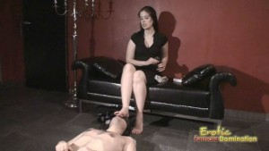 Slave Gets To Clean His Mistress Toes Before She Does Her Pedicure