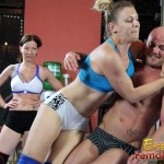 Three Women Wrestle One Muscular Dude