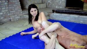 Karen Shows Her Power in Nude Mixed Wrestling