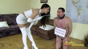 White latex domme humiliates and teases her slave