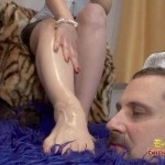 Wife Teases His Cuckold Husband With Her Oiled Feet