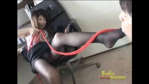 Asian femdom in sexy pantyhose puts man on leash
