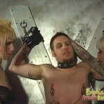 A slave's entire body is tortured by two mistresses