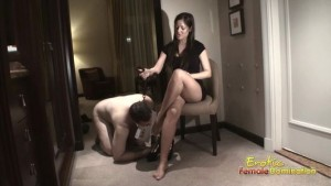 Gorgeous lady gives permission to his pathetic male slave to smell her feet