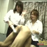 Japanese girls torture and please a skinny guy