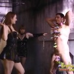 Several dominating women torture a male slave