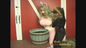 Cruel Lesbian Dominatrix In Black Catsuit