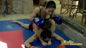 Femdom Boxing Mistress Beating Male Slave