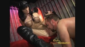 Mistress Leah Wilde in fishnets spanking slave