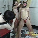 Rough Shemale Mistress Punishes Both Slaves Together