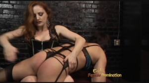 Sissy slave in stockings humiliated by his redhead domme