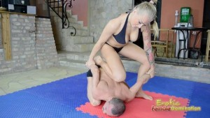 Tattooed Blonde Mistress Absolutely Dominating Slave