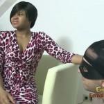 Ebony femdom mistress spitting humiliated slave