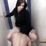 Femdom Slave Cleaning Pussy in toilet