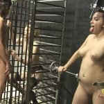 Pretty Little Caged Girl Pleasures Dude In Gimp Suit