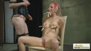 Birthday slut gets her tits coated in hot wax by her Mistress
