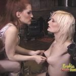 Blonde slave is spanked and caned by two hot Mistresses