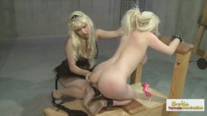Mean Mistress binds and punishes her blonde slave slut
