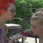 Two lesbians lick cake off each other's nude bodies