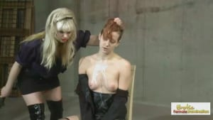 Punk bitch gets interrogated by a leggy blonde sadist