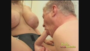 Busty blonde bitch fucks her tiny-dicked slave with a strap-on
