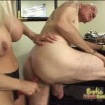 Dominant blonde pegging her older husband with a strap-on