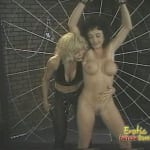 Mature blonde dominatrix turns her busty friend into a slave