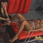 Mistress Natasha Sweet coats her slave's pussy in hot candle wax