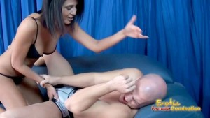 Man enjoys some cruel ballbusting from a sexy brunette