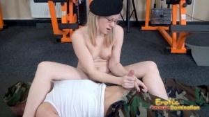 Elfin Domme gives her slave a slow, torturous, and sexy handjob