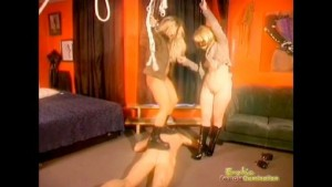 Ladies Trample Their Obedient Male Slave