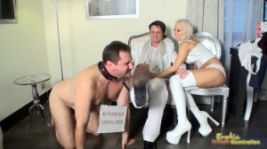 Cuckold Virgin Loser Licks Off Bull's Shoes While Wife Jerking Off Bull's Dick