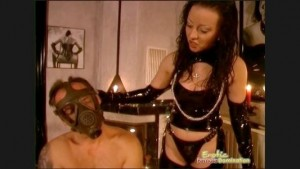 Gasmask Wearing Slave Gets Spanked & Abused