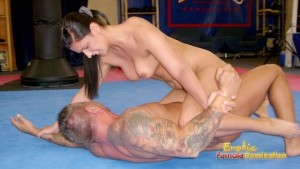 Diana Stewart Wrestles Slave Until He Submits To Her Bidding