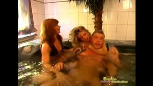 Slave gets trampled in the pool by two hot mistresses