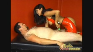 A dominatrix controls her slave in every way possible