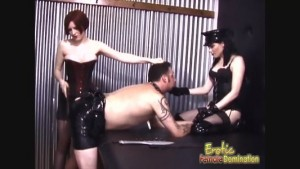 Being spanked by two mistresses leads to lots of pleasure