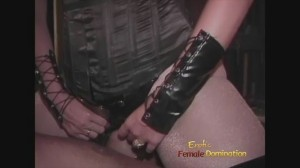 Dominatrix in pantyhose facesitting slave and inflicting pain to his cock