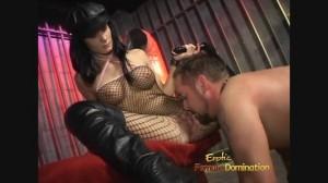 Mistress Leah Wilde in fishnets spanking slave