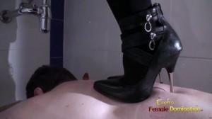 Cruel mistress trampling slave in toilet