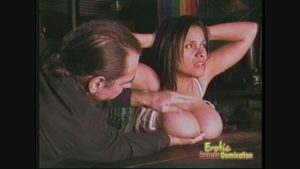 Masochistic bartender offers herself to a customer as his slave